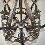 Antique-Five-Arm-Gothic-Revival-Chandelier-in-Wrought-Iron-Pewter-Finish-193730572826-8
