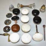 Antique-Misc-Lot-Crystal-Porcelain-Pottery-Door-Knobs-Brass-Handle-192612890466