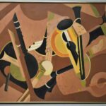 E-Canfield-Ruthley-Oil-Painting-Musical-Instruments-Abstract-264798407876