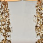 Pair-Mid-Century-Modern-Marbro-Italian-Tole-Gilt-Crystal-Floral-Vine-Lamps-264908986706-4