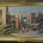 1950s-Italian-Oil-Painting-Market-Street-Scene-42×36-264761766387