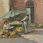 1950s-Italian-Oil-Painting-Market-Street-Scene-42×36-264761766387-3