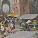 1950s-Italian-Oil-Painting-Market-Street-Scene-42×36-264761766387-4