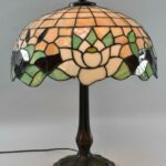 Antique-Leaded-Glass-Lamp-Cattails-Water-Lily-18-Miller-Lamp-Company-193725105217