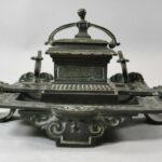 Antique-Victorian-Bronze-Inkwell-with-Verdigris-Patina-262726003847