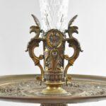Antique-Victorian-Compote-Etched-Cut-Gass-Cast-Bronze-Lion-Heads-Angels-1880s-263654167477-7