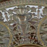 Antique-Victorian-Compote-Etched-Cut-Gass-Cast-Bronze-Lion-Heads-Angels-1880s-263654167477-9