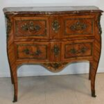 Italian-Style-Marble-Top-Commode-Inlaid-Wood-Brass-Mounts-Hardware-193370722847