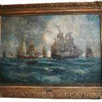 Oil-On-Canvas-Seascape-Carlton-T-Chapman-War-Ship-Rochambeau-Newport-193129596427