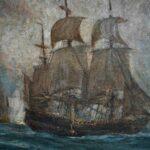 Oil-On-Canvas-Seascape-Carlton-T-Chapman-War-Ship-Rochambeau-Newport-193129596427-5