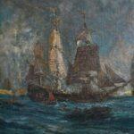 Oil-On-Canvas-Seascape-Carlton-T-Chapman-War-Ship-Rochambeau-Newport-193129596427-6