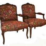 Pair-French-Style-Chairs-By-Sherill-Furniture-Red-Tapestry-Birds-PlumsFlowers-193539603937