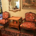 Pair-French-Style-Chairs-By-Sherill-Furniture-Red-Tapestry-Birds-PlumsFlowers-193539603937-7