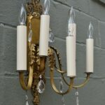 Pair-Heavy-Ornate-Brass-French-Style-Five-Arm-Wall-Sconces-Cut-Crystal-Drops-264244746687-3