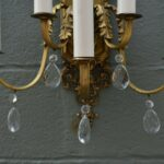 Pair-Heavy-Ornate-Brass-French-Style-Five-Arm-Wall-Sconces-Cut-Crystal-Drops-264244746687-4