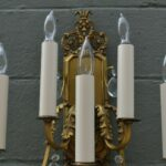 Pair-Heavy-Ornate-Brass-French-Style-Five-Arm-Wall-Sconces-Cut-Crystal-Drops-264244746687-5
