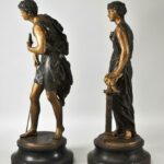 Pair-Male-Female-Cast-Statues-Man-With-Sheperd-Hook-Flute-Lady-With-Bird-264870880407-2
