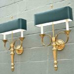 Pair-of-Large-Brass-Horn-Sconces-Double-Socket-264985127707-2