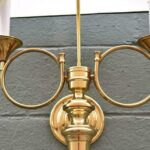 Pair-of-Large-Brass-Horn-Sconces-Double-Socket-264985127707-3