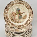 Twelve-Vintage-Windsor-Ware-Wild-Turkeys-Dinner-Plates-Johnson-Brothers-England-194212104217