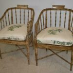 Vintage-Pair-Bamboo-Form-Side-Chairs-Distressed-Finish-Cane-Seat-265235822187