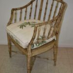 Vintage-Pair-Bamboo-Form-Side-Chairs-Distressed-Finish-Cane-Seat-265235822187-2