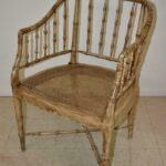 Vintage-Pair-Bamboo-Form-Side-Chairs-Distressed-Finish-Cane-Seat-265235822187-3