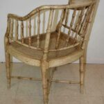 Vintage-Pair-Bamboo-Form-Side-Chairs-Distressed-Finish-Cane-Seat-265235822187-4
