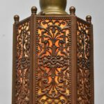 Antique-Slag-Glass-Hexagon-Brass-Filigree-Porch-Pendant-Chandelier-265177848628-2