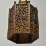 Antique-Slag-Glass-Hexagon-Brass-Filigree-Porch-Pendant-Chandelier-265177848628-3