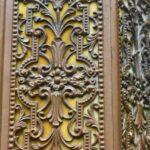 Antique-Slag-Glass-Hexagon-Brass-Filigree-Porch-Pendant-Chandelier-265177848628-4