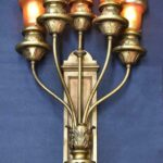 Bronze-Neo-Classical-Five-Arm-Art-Glass-Wall-Sconce-Circa-1910-194117442258-2