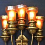 Bronze-Neo-Classical-Five-Arm-Art-Glass-Wall-Sconce-Circa-1910-194117442258-3