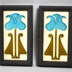 Pair-Arts-Crafts-English-Pottery-Tiles-Stylized-Flower-194131414728