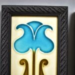 Pair-Arts-Crafts-English-Pottery-Tiles-Stylized-Flower-194131414728-2