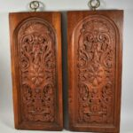 Pair-Carved-Walnut-Decorative-Wall-Hangings-Panels-194014546888