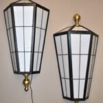 Pair-Over-Size-Exterior-Interior-Wall-Sconce-Lights-Black-Brass-Glass-263606016438