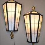 Pair-Over-Size-Exterior-Interior-Wall-Sconce-Lights-Black-Brass-Glass-263606016438-2