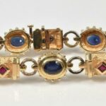 Sapphire-Ruby-14K-Yellow-Gold-Link-Bracelet-24-Grams-265073708238