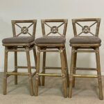 Three-McGuire-Target-Back-Bar-Stools-Bamboo-Brass-Foot-Rest-193942584878