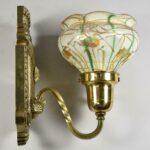 Vintage-Art-Glass-Shade-Heart-Vine-Brass-Fixture-Wall-Sconce-265132313568