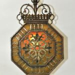 Antique-Hexagon-Brass-Pendant-Chandelier-With-Slag-Glass-Hammered-Finish-265135045779