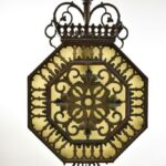 Antique-Hexagon-Brass-Pendant-Chandelier-With-Slag-Glass-Hammered-Finish-265135045779-3