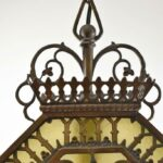 Antique-Hexagon-Brass-Pendant-Chandelier-With-Slag-Glass-Hammered-Finish-265135045779-4