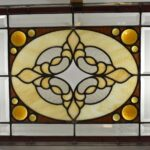 Antique-Stained-Slag-Glass-Jeweled-Beveled-Window-264165419219