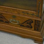 Antique-Turn-Of-The-Century-Oak-Two-Door-Bookcase-Carved-Round-Beveled-Mirror-193971808849-7