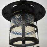 Antique-Wrought-Iron-Lantern-Hall-Porch-Chandelier-Art-Glass-Shade-194216206209-5