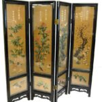 Asian-Four-Panel-Hand-Painted-Screen-in-Lacquer-with-Stonework-264913587789