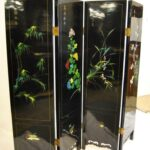 Asian-Four-Panel-Hand-Painted-Screen-in-Lacquer-with-Stonework-264913587789-2
