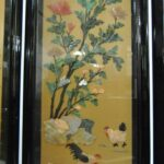 Asian-Four-Panel-Hand-Painted-Screen-in-Lacquer-with-Stonework-264913587789-5